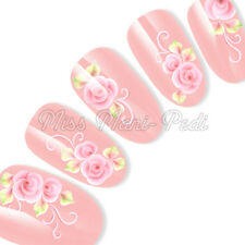 Nail Art Water Slide Decals Transfers Stickers Pink Roses, Leaves & Spirals H030