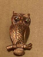VINTAGE COPPER BELL SIGNED OWL ON BRANCH BROOCH PIN SILVER EYES ESTATE SALE