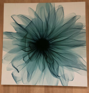 """Canvas Wall Hanging Print Picture Blue Floral Design 19""""x19"""""""