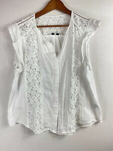 JAG Size 16 Women White Casual Floral Lace Sleeveless Blouse Top V-Neck Pullover