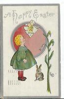 CA-043 A Happy Easter, Artist Signed ED Divided Back Postcard Little Girl Flower