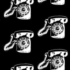 Vintage Scrapbook Call Me Black Rotary Telephone Retro Cotton Fabric by the Yard