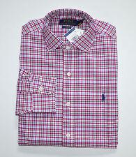 NWT Men's Ralph Lauren Casual Long-Sleeve Shirt, Dark Pink, White, M, Medium