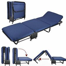 """26""""Wide Roll Away Guest Day/Night Bed With Steel Frame Mattress Blue Cover Set"""