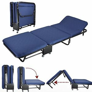 "26""Wide Roll Away Guest Day/Night Bed With Steel Frame Mattress Blue Cover Set"