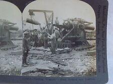 "WW1 FEEDING ""GRANNIE"" SHELL HOISTED INTO POSITION! KEYSTONE STEREOVIEW CARD WWI"