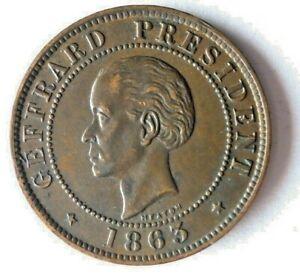 1863 HAITI 10 CENTIMES - AU/UNC - VERY RARE - HIGH VALUE Coin - Lot #S20