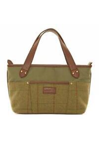 Bag Shopper Tote Handbag Handle Strap Leather Tweed Green Wool Womens Hawkins