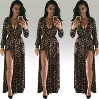 Womens Sexy V-Neck Leopard Printed Split Hem Long Sleeve Party Wrap Maxi Dress
