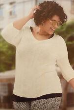 Pullover Damen Gr. 50 weiß 3/4 Ärmel Strick leicht dünnes Garn f. Lagenlook