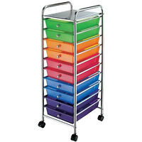 New Chrome 10 Drawer Rolling Scrapbook Cart Storage