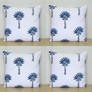 "Indian Hand Block Cotton Cushion Covers 16"" Blue Palm Tree Pillow Case 4 Pcs Set"