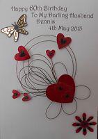 Personalised handmade birthday card wife fianc'e girlfriend husband  partner