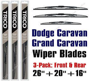 """Dodge Grand Caravan 2010+ Wiper Blades 3-Pk 26""""+20""""+16"""" - 30260/30200/30160"""