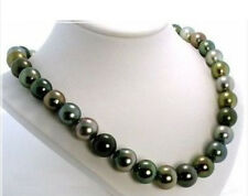 "SOUTH SEA TAHITIAN BLACK MULTICOLOR PEARL NECKLACE HUGE 18""11-12MM NATURAL AAA+"