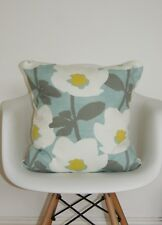 "Duck Egg Cushion Covers 16"" inch Saffron Mustard Yellow Grey Scandi Flower Print"
