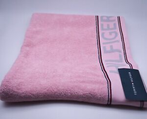 Tommy Hilfiger Bath Towel In Pink Cotton Designer Logo Branded New With Tags