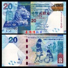 HongKong Hong Kong 20 Dollars, HSBC, 2010, P-212, UNC