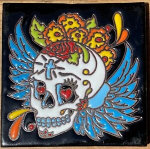 """Talavera tile clay pottery 4"""" hi relief Day of the Dead angel wings flower cross"""