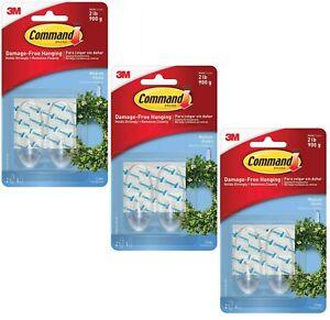 3 Packs 3M Command 2 Medium Clear Hooks & 4 Adhesive Strips Per Pack Max 2 lb