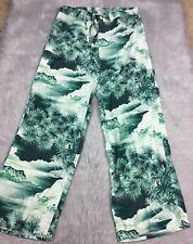Lucky Brand Womens Green Rayon Hawaiian Palm Tree Island Lounge Pants Sz S