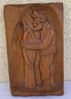 Sea Captain relief wood carving nautical carved wooden ship wheel folk art wall