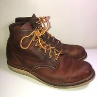 RED WING DISTRESSED BROWN LEATHER LACE-UP 2950 6 IN ROUND TOE WORK BOOT*10 D