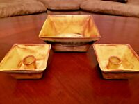 Ceramic Console Set Bowl and Candle Holders California Vintage