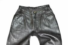 "Vintage Black Leather Straight Leg Women's Trousers Jeans Pants Size W29"" L28"""