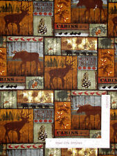Moose Elk Mountain Pines Patch Rustic Cotton Fabric David Textiles By The Yard