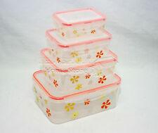 Orange 4PC Air Tight &Lock Food Storage Box Container Set Stack Microwaveable RA