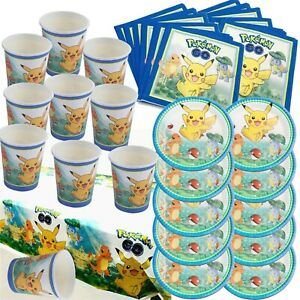 Pokemon Pikachu Charmander Table Cover Plates Cups Napkins Party Pack For 10