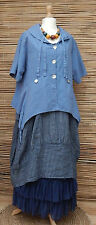 LAGENLOOK COTTON/LINEN AMAZING PRETTY LOVELY QUIRKY JACKET*BLUE*SIZE L-XL-XXL