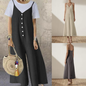 Plus Size Women Baggy Overalls Wide Leg Playsuit Dungaree Strappy Dress Jumpsuit