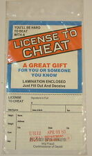 Vintage Novelty License To Cheat joke april fool party birthday gift