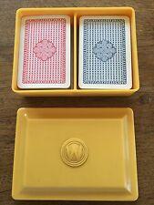 Vintage Waddington Playing Cards Butterscotch Bakelite Box & 2 packs Advertising