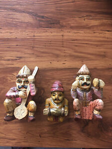 Vintage Hand Carved Hand Painted Wooden Indian Musician Figures