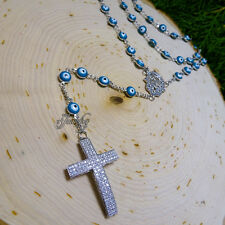 Blue Protective Eye with Crystal Hamsa & Cross Rosary Extra Long Stainless Stee