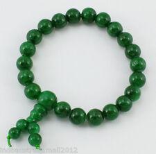 Buddha Beads Bracelet Natural Jade Gemstone  8mm Beads Dark Green (PJBR002-13)