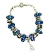 Eiffel Tower European Silver Charm Bracelet With Blue Murano Beads