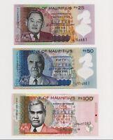 SET, Mauritius, 25;50;100 rupees, 2013, P-64-65-66, all UNC
