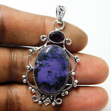 Huge Charoite Amethyst 925 Sterling Silver Plated Jewellery Pendant 10 Gm-P2