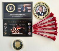 Trump Golf Ball Marker Coin & Tees... Presidential Tribute Coin..2016 + 1 Decal