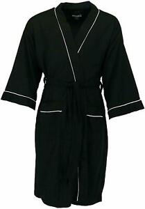 MEN'S WAFFLE ROBE FRUIT OF THE LOOM POLYESTER ONE SIZE SOFT LIGHTWEIGHT BLACK