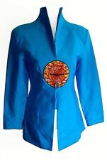 Vintage Sunny Point Fashion Asian Chinoiserie Embroidered Medallion Jacket S