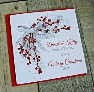 Handmade Personalised  Christmas Card Winter Berries B5