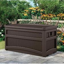 Wicker Plastic Deck Box Outdoor Container Storage Patio Garden Chest Bin Wheels