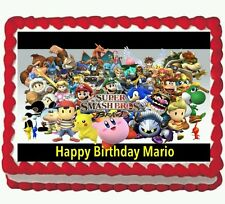 Super Mario Smash Brothers Birthday Party Edible Cake Topper 1/4 icing sheet