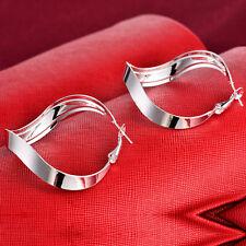 Fashion Women 925 Silver Stud Dangle Hoop Earring Wedding Engagement Jewelry