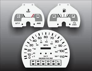 1992-1995 Toyota Pickup Truck Non-Tach Auto Instrument Cluster White Face Gauges